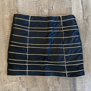 NWOT Endless Rose Faux Leather Skirt Black Gold M